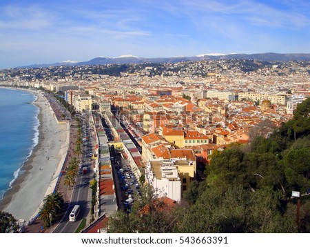 Aerial View of city and Nice Beach, France
