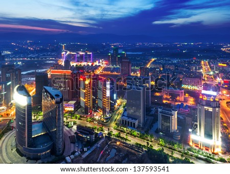 Aerial view of city night - stock photo