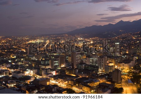 Aerial View Of City Night, Modern Urban City At Night - stock photo