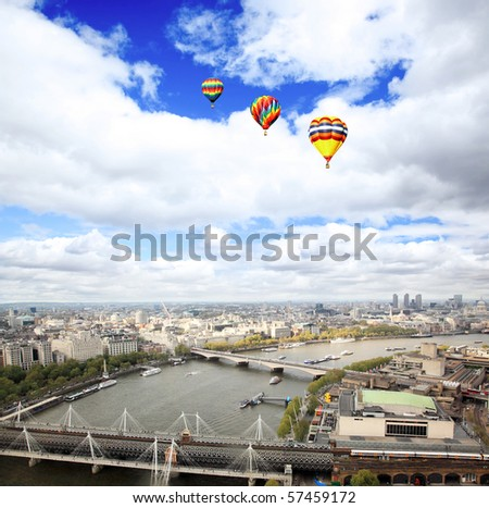 Aerial view of city of London from the London Eye - stock photo