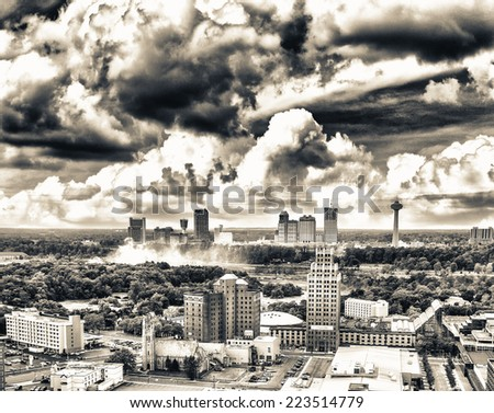 Aerial view of City of Niagara Falls, Canada. - stock photo