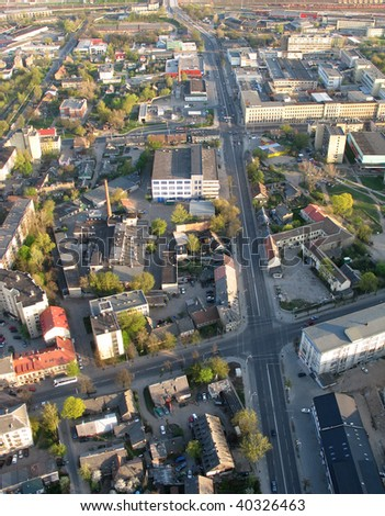 Aerial view of city of Vilnius (Lithuania) - stock photo