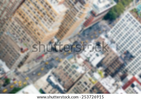 Aerial View of City Street in New York. Blurred Background. - stock photo