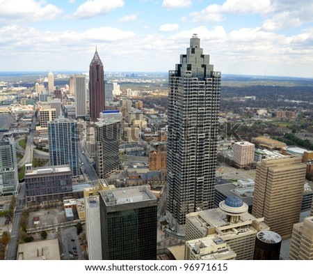 Aerial view of cityscape of Atlanta, Georgia, USA. - stock photo