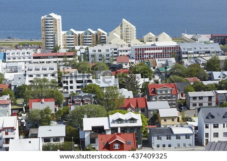 Aerial view of cityscape of North Reykjavik  - stock photo