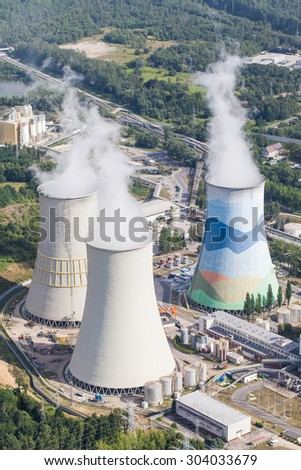 aerial view of coal power plant  cooling towers - stock photo