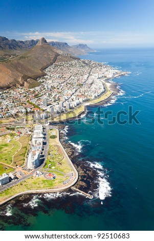 aerial view of coast of Cape Town, South Africa - stock photo