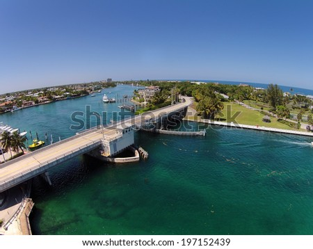 Aerial view of coastal waterways and bridges in Florida near Pompano Beach - stock photo