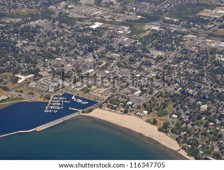 aerial view of Cobourg Ontario, view from the lake towards the beach Summer - stock photo
