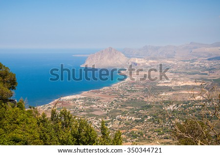 Aerial view of Cofano mount and the Tyrrhenian coastline from Erice, Sicily, Italy. - stock photo