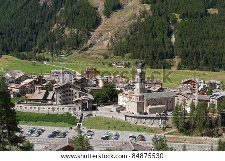 aerial view of Cogne, small town in Aosta Valley, Italy