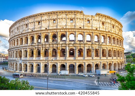 Aerial view of Colosseo, Colosseum, Flavian Amphitheatre, the largest amphitheater in the world and one of the symbols of Italy. Symbol of Rome, located in historical center, Unesco Heritage Site. - stock photo