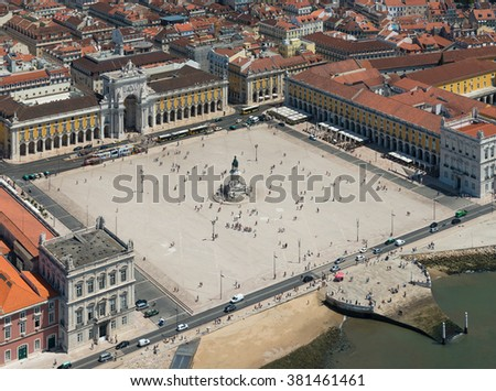 Aerial view of Commerce Square of Lisbon, Portugal - stock photo