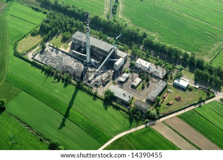 Aerial view of complete coal heat factory - stock photo