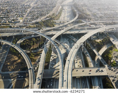 Aerial view of complex highway interchange in Los Angeles California. - stock photo