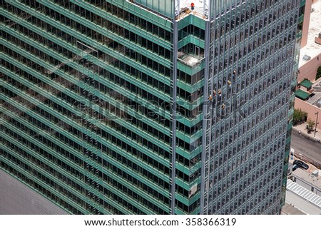 Aerial view of Construction on a High Rise building downtown - stock photo