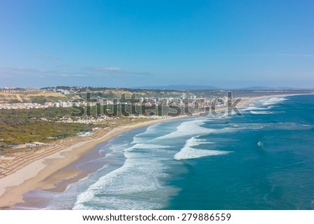 Aerial view of costa caparica coast beach in Lisbon, Portugal - stock photo