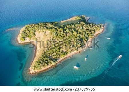 aerial view of Croatia coast line. Rab island - stock photo