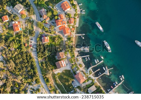aerial view of Croatia coast line. Rab island - stock photo