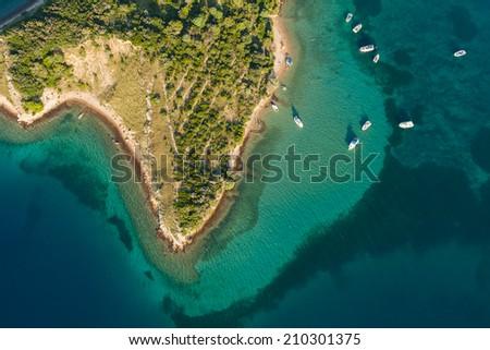 aerial view of croatian island - stock photo