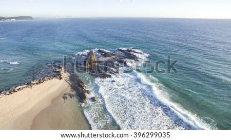 Aerial view of Currumbin Rock and beach Gold Coast, Australia