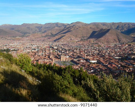 Aerial view of Cuzco.  Peru. - stock photo