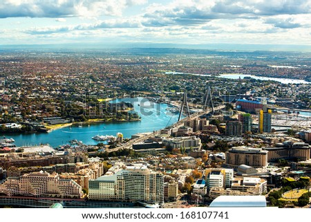 Aerial view of Darling Harbour,Sydney,Australia - stock photo