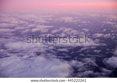aerial view of dawn pink cloud from plane - stock photo