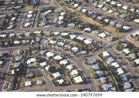 Aerial view of desert suburban homes in Tucson, Arizona - stock photo
