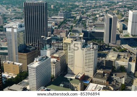 Aerial view of downtown Atlanta, Georgia, USA. - stock photo