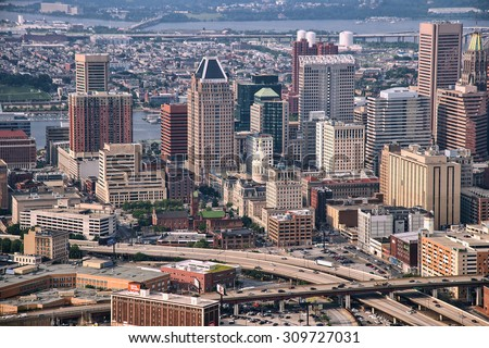 aerial view of downtown baltimore and highways, june, 2015 - stock photo