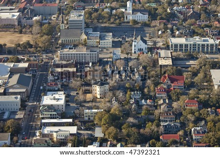 aerial view of downtown charleston south carolina - stock photo