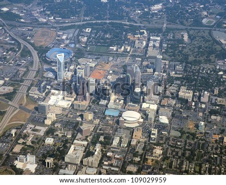 Aerial view of downtown Charlotte, North Carolina, USA - stock photo