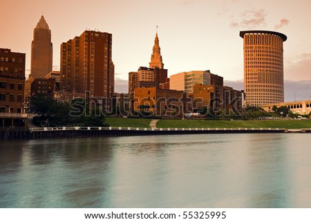 Aerial view of downtown Cleveland, Ohio. Taken with Tobacco Graduated filter. - stock photo