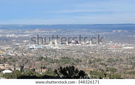Aerial view of downtown Colorado Springs, Colorado. - stock photo