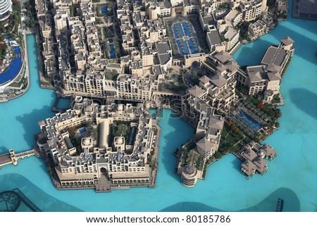 Aerial view of Downtown Dubai, United Arab Emirates - stock photo