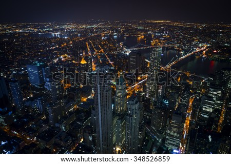 Aerial view of downtown Manhattan at night - stock photo