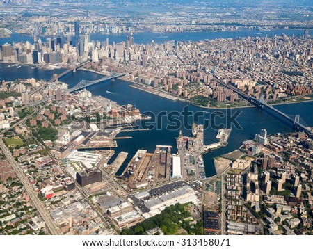 Aerial view of downtown Manhattan in New York City - stock photo