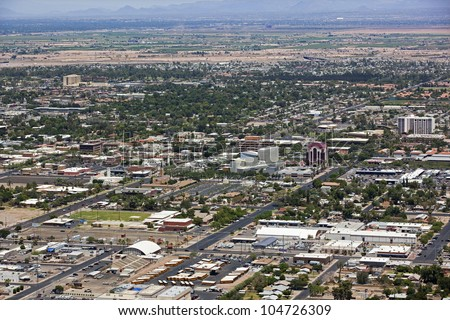 Aerial view of downtown Mesa, Arizona looking northwest