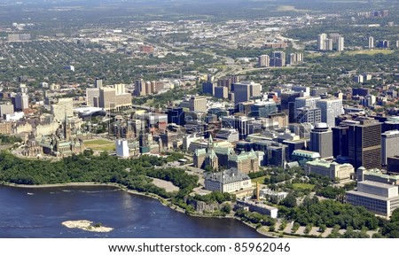 aerial view of downtown Ottawa including the Parliament buildings; Ottawa, Ontario Canada - stock photo