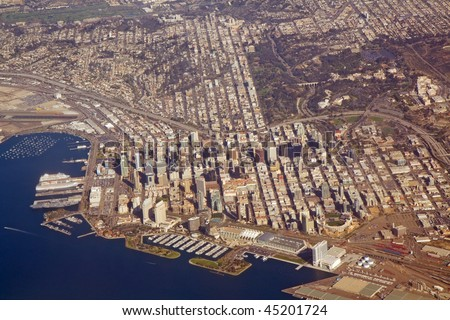 Aerial view of downtown San Diego, California, with Balboa Park and a part of San Diego Bay - stock photo