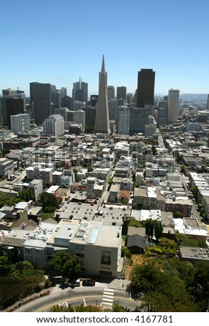 Aerial view of downtown San Francisco - stock photo