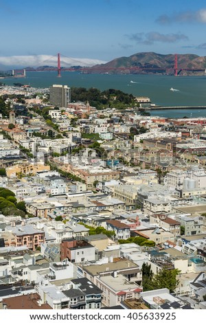 Aerial view of downtown San Francisco bay area and Golden Gate Bridge.