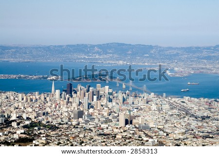 Aerial view of downtown San Francisco, California - stock photo