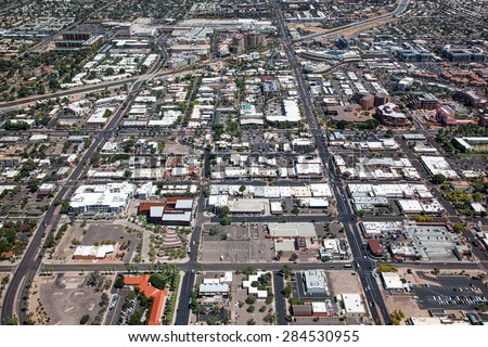 Aerial view of Downtown Scottsdale, Arizona looking south to north - stock photo