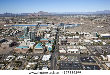 Aerial view of Downtown Tempe, Arizona looking North - stock photo