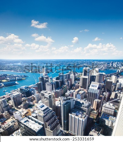 Aerial view of downtown towards Sydney Tower in Sydney , Australia. - stock photo