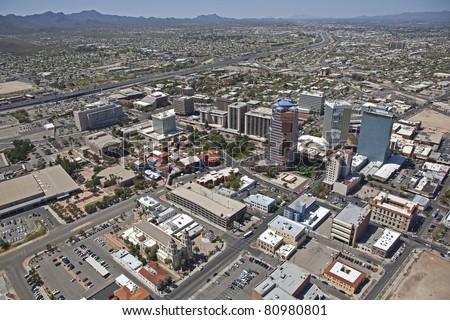 Aerial view of Downtown Tucson Arizona - stock photo
