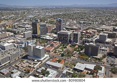 Aerial view of Downtown Tucson Arizona - stock photo