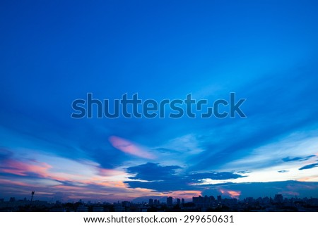 Aerial view of dramatic sunset and sunrise / Blue sky in Bangkok - stock photo